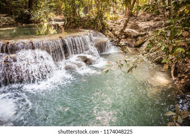 Erawan Waterfall, named after the three headed elephant, is a famous attraction of the Erawan national park in the Kanchanaburi province, Thailand