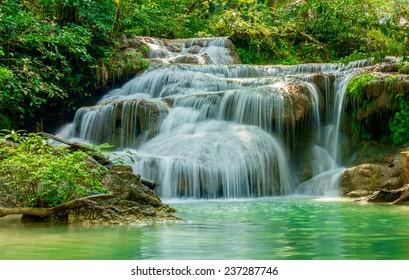 Erawan waterfall at national park Erawan, Kanchanaburi, Thailand
