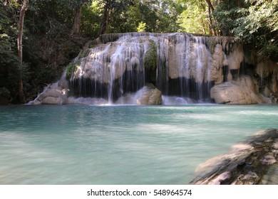 Erawan waterfall national park , kanchanaburi , Thailand. Second floor.