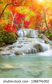 Erawan Waterfall tier 2, in National Park at Kanchanaburi, Thailand