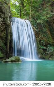 Erawan Waterfall tier 3, in National Park at Kanchanaburi, Thailand