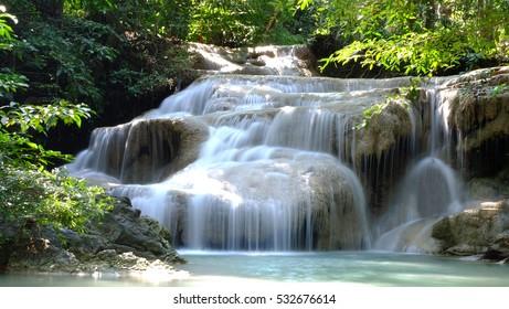 "Erawan Waterfalls Floor 1 ""Lai Kuen Rang"" Kanchana Buri, Thailand"