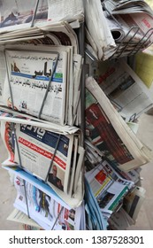 ERBIL, IRAQ- A newspaper dealer with Arabic newspapers in Erbil, the capital of the Iraqi Kurdistan Regional Government. March 16, 2013.