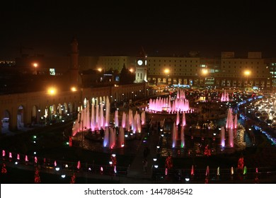 Erbil, Iraq- A night view from Shar Park in front of Erbil castle in Erbil, before the Newroz celebrations in 2013. March 16, 2013.