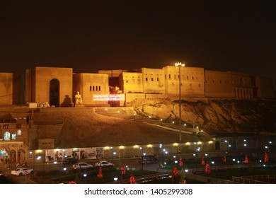 ERBIL, IRAQ- A night view of the square with the castle of Arbil before the Newroz celebrations. March 16, 2013.