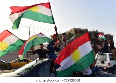 ERBIL,IRAQ- SEPTEMBER 25: Kurds celebrate independence referendum on September 25, 2017 in Erbil,Iraq.