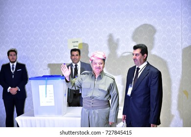ERBIL,IRAQ- SEPTEMBER 25: President Barzani voted for independence referendum on September 25, 2017 in Erbil,Iraq.