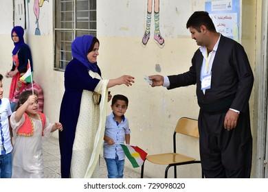 ERBIL,IRAQ- SEPTEMBER 25: Voting for the independence referendum on September 25, 2017 in Erbil,Iraq.