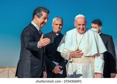 Erbil,Kurdistan, Iraq – March 7, 2021: Pope Francis warm welcomed By  Masrour Barzani prime minister of the Kurdistan Region of Iraq, during his vist to Kurdistan