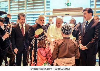 Erbil,Kurdistan, Iraq – March 7, 2021: Pope Francis warm welcomed By The people of Kurdistan, during his vist to Kurdistan