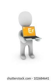 erbium symbol on screen laptop