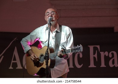 "ERBUSCO,ITALY - AUGUST 27:  exhibition live of the  italian guitar player Stefano Nosei  at the event ""Acoustic Franciacorta 2014"",27 August ,2014 in Erbusco,Italy"