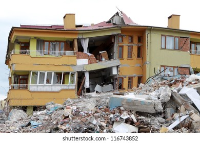 ERCIS, TURKEY-OCTOBER 25: Earthquake damage in Ercis, Van, Turkey. Destroyed houses after earthquake. October 25, 2011.