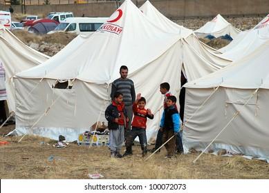 ERCIS, TURKEY-OCTOBER 26: Earthquake damage in Ercis, Van, Turkey. October 26, 2011.