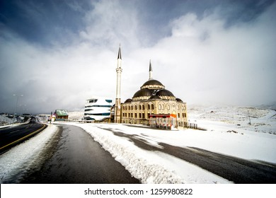 ERCIYES, TURKEY - DECEMBER 10, 2018: Erciyes mosque located at Erciyes ski resort mountain management company HQ near Mount Erciyes, the highest mountain in Central Anatolia.