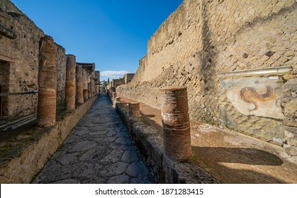 Ercolano, ancient town in Campania, Italy. City destroyed and buried under volcanic ash. Intact houses, streets and baths