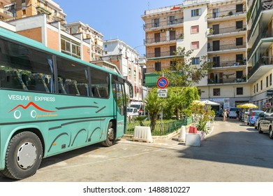 ERCOLANO, NAPLES, ITALY - AUGUST 2019: The Vesuvio Express, a shuttle bus service which takes visitors from Ercolano near Naples to the crater parking at the summit of Mount Vesuvius