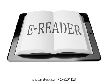 E-reader with ebook in digital tablet computer, mobile reading concept
