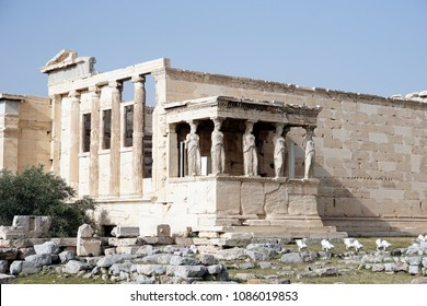 Erechteion on Acropolis in Athens, Greece