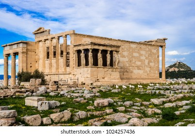 The Erechtheion or Erechtheum, an ancient Greek temple on the north side of the Acropolis of Athens in Greece, dedicated to Athena and Poseidon.