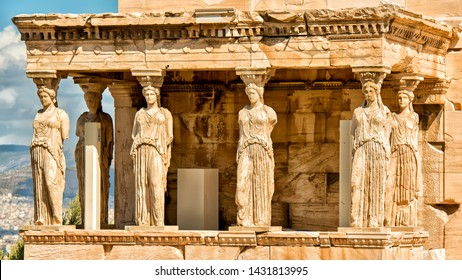 Erechtheion.The temple was built in the late V century BC in the ionic style, the name of the architect was lost in the thickness of centuries. Well preserved portico Caryatids, which was attached to