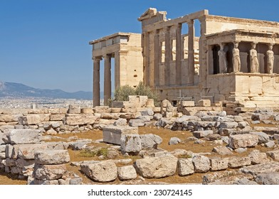 the erechtheum, one of the main temples of ancient Athens. Greece