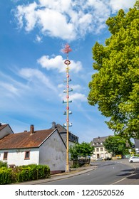 Erected maypole, Maibaum in July, Schoenecken, Rhineland-Palatinate, Germany decorated with emblems depicting local crafts and industry