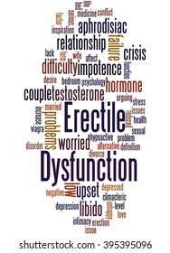 Erectile Dysfunction, word cloud concept on white background.