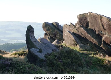 The Erection. A strange rock formation resembling an erect penis and testicles in The Peak District National Park England.