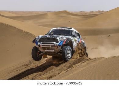 Erfoud, Morocco. October 9, 2017. Oilibya Cross-Country Rally of Morocco, preparation to Dakar 2018. Vladimir Vasilyev - Constantin Zhiltsov, Mini All4 Racing, in the dunes.