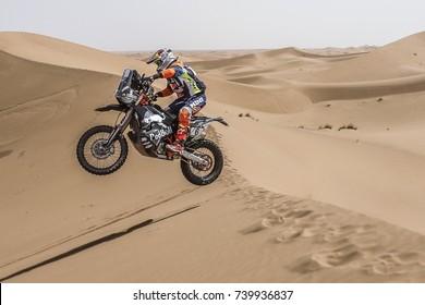 Erfoud, Morocco. October 9, 2017. Oilibya Cross-Country Rally of Morocco, preparation to Dakar 2018. Matthias Walkner, KTM, in the dunes.