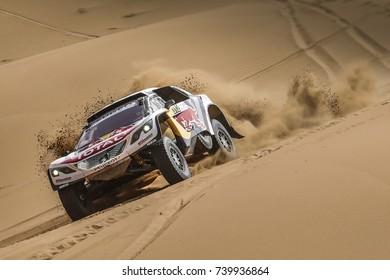 Erfoud, Morocco. October 9, 2017. Oilibya Cross-Country Rally of Morocco, preparation to Dakar 2018. Sebastien Loeb - Daniel Elena, Peugeot 3008 DKR, in the dunes.