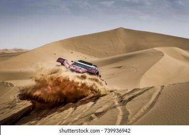 Erfoud, Morocco. October 9, 2017. Oilibya Cross-Country Rally of Morocco, preparation to Dakar 2018. Eugenio Amos - Sebastien Delaunay, buggy TRX08, in the dunes.