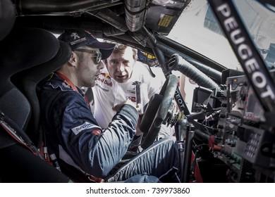 Erfoud, Morocco. October 9, 2017. Oilibya Cross-Country Rally of Morocco, preparation to Dakar 2018. Sebastien Loeb, Peugeot 3008 DKR.