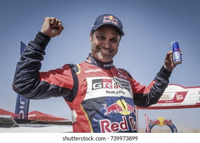 Erfoud, Morocco. October 9, 2017. Oilibya Cross-Country Rally of Morocco, preparation to Dakar 2018. Nasser Al-Attiyah, Toyota Hilux, wins the rally and the cross-country rally world cup 2017.