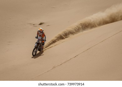 Erfoud, Morocco. October 9, 2017. Oilibya Cross-Country Rally of Morocco, preparation to Dakar 2018. Laia Sanz, KTM, in the dunes.