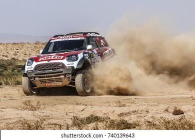 Erfoud, Morocco. October 9, 2017. Oilibya Cross-Country Rally of Morocco, preparation to Dakar 2018. Jakub Przygonski - Tom Colsoul, Mini All4 Racing.