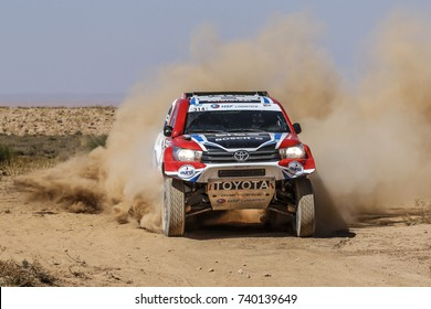 Erfoud, Morocco. October 9, 2017. Oilibya Cross-Country Rally of Morocco, preparation to Dakar 2018. Bernhard Ten Brinke - Stephane Prevot, Toyota Hilux.
