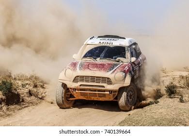 Erfoud, Morocco. October 9, 2017. Oilibya Cross-Country Rally of Morocco, preparation to Dakar 2018. Orlando Terranova - Bernardo Graue, Mini All4 Racing.