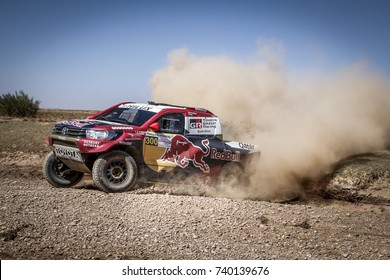 Erfoud, Morocco. October 9, 2017. Oilibya Cross-Country Rally of Morocco, preparation to Dakar 2018. Nasser Al-Attiyah - Mathieu Baumel, Toyota Hilux, in the dunes.