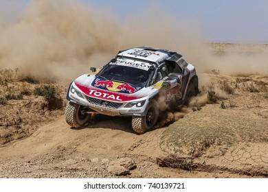 Erfoud, Morocco. October 9, 2017. Oilibya Cross-Country Rally of Morocco, preparation to Dakar 2018. Carlos Sainz - Lucas Cruz, Peugeot 3008 DKR.