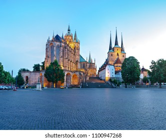 The Erfurt Cathedral alias Erfurter Dom and the Domplatz of Erfurt town in Germany