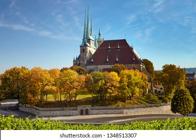 Erfurt Cathedral in Autumn on a bright day in Erfurt, Thuringia, Germany