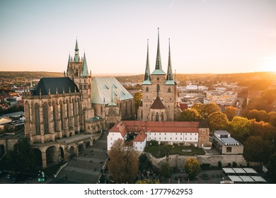 Erfurt cathedral in autumn sunset