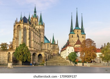 Erfurt Cathedral and Severikirche church, Germany. Both churches tower above the town scape and are accessible via huge open stairs called Domstufen.
