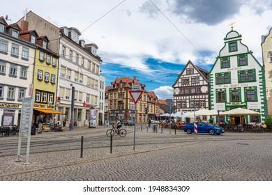 ERFURT, GERMANY, 28 JULY 2020: Main square of Erfurt