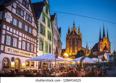ERFURT, GERMANY - CIRCA MARCH, 2018: The Erfurt Cathedral alias Erfurter Dom and the Domplatz of Erfurt town in Germany