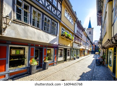Erfurt, Germany - July 4: famous kramerbridge with historic facades in erfurt - germany on July 4, 2019
