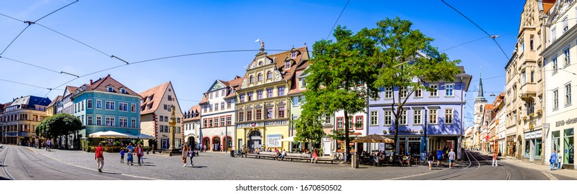 Erfurt, Germany - July 4: old town with shops at the marktstrasse in erfurt on July 4, 2019