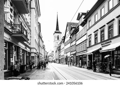 ERFURT, GERMANY  - JUN 16, 2014: Architecture of the downtown of the city of Erfurt, Germany. Erfurt is the Capital of Thuringia and the city was first mentioned in 742